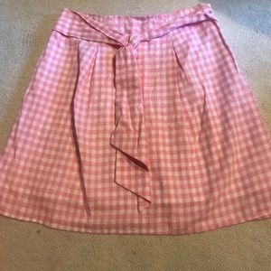 J.O.A. PINK GINGHAM TIE FRONT SKIRT , S/S